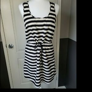 Forever 21 Black & Cream Stripe Tank Dress